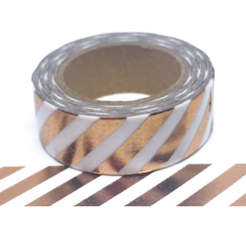 Foil-41| Rose Gold Diagonal Stripe