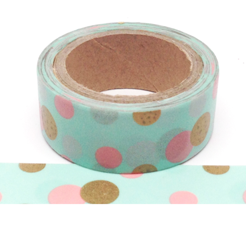 450-Mint With Gold And Pink Dots