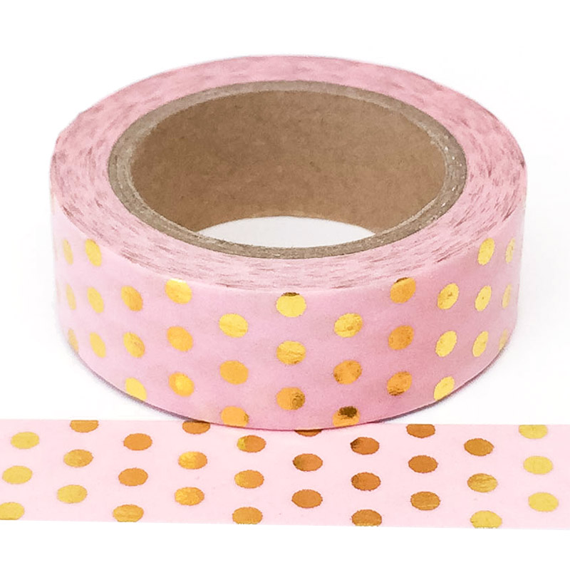 Foil-19| Pink With Gold Polkadots
