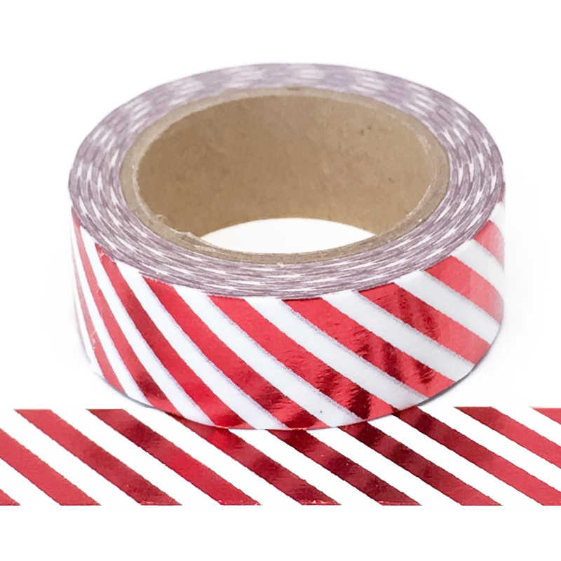 Foil-37| Red Diagonal Stripe