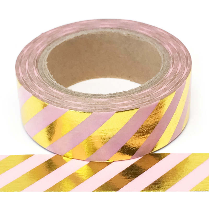 Foil-21| Pink With Gold Stripes