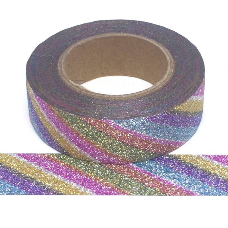 Glitter-14 | Rainbow Diagonal Stripe