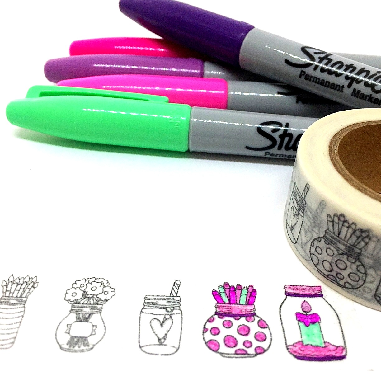 Colouring In Tape Jars 2nd