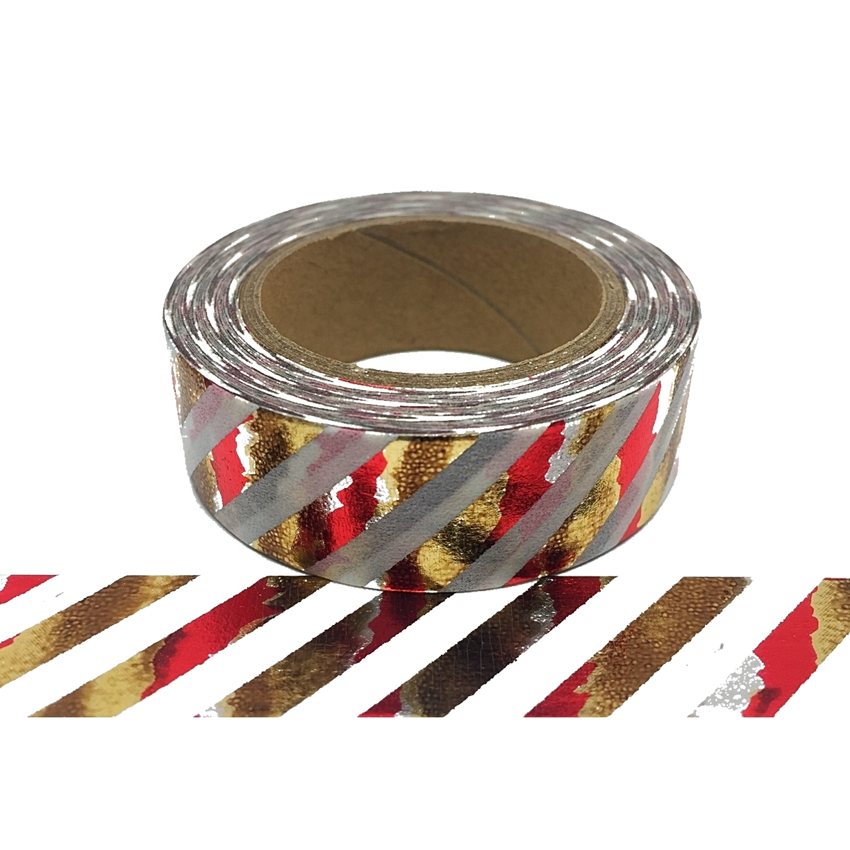 Foil-59 Gold, Red & Silver Diagonal Stripe