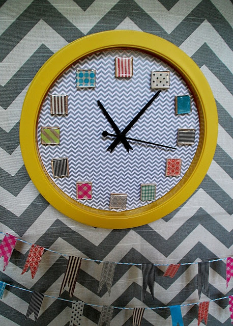 Washi Tape Clock With Banner